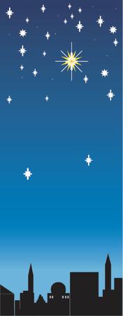 star of bethlehem: The Christmas star shines over Bethlehem Illustration