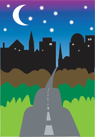 The road to the city at night. Vector