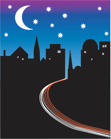 The road to the city at night Illustration
