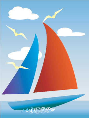 A yacht glides over the sea, with clouds and seagulls. Vector
