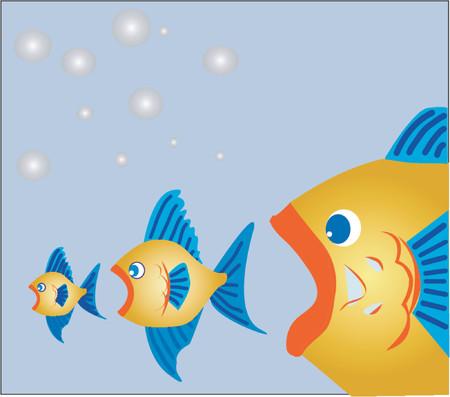 Big fish eats little fish (Vector)
