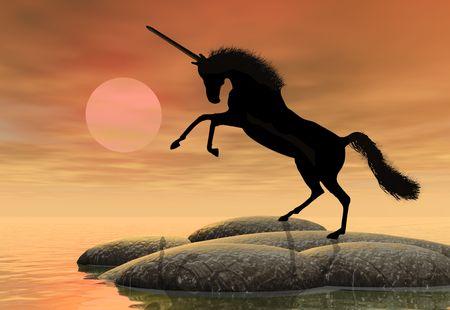 the setting sun: A fantastic unicorn silhouetted against the setting sun