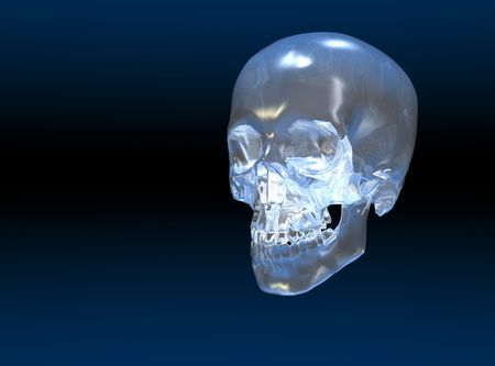 A crystal skull with copy space