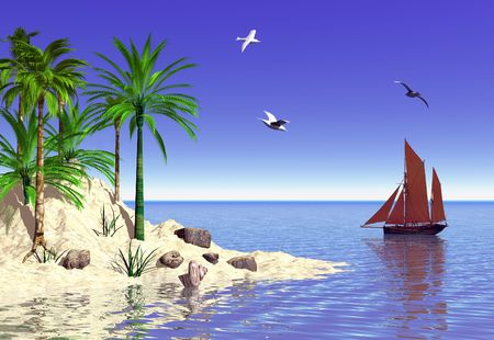 A tranquil tropical island set in the blue sea with a boat passing by.