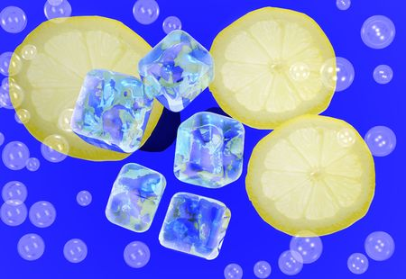 Ice cube and lemon slices in a drink with bubbles Stock Photo - 459810