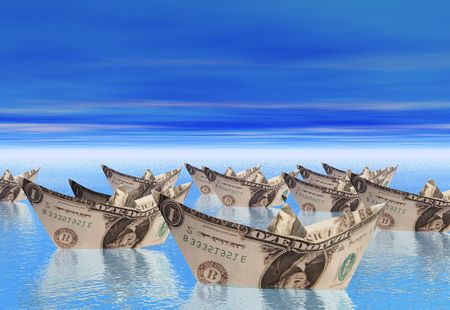 liquidation: A flotilla of boats made from dollar bills