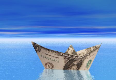 A boat made from a dollar bill floating on a calm sea