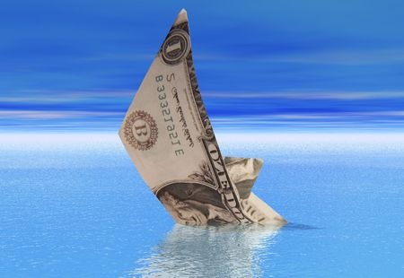 A boat made from a dollar bill sinking into a calm sea