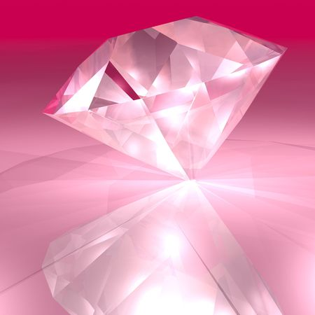 A bright pick diamond sparkling in the light