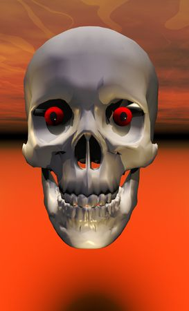 mortality: A halloween skull with red glowing eyes