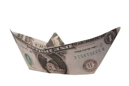 rowboat: A boat made from a dollar bill with clipping path