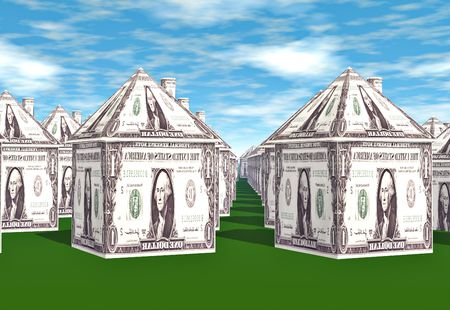 Rows and rows of houses made from dollar bills