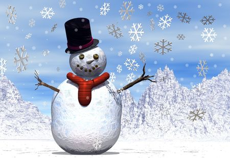 A snowman in a winter scene with falling snowflakes Stock Photo