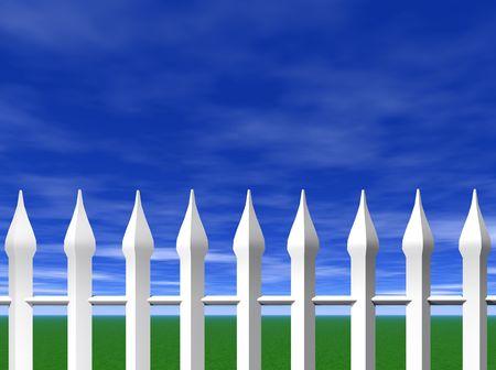 cerca blanca: Una cerca blanca y un cielo azul