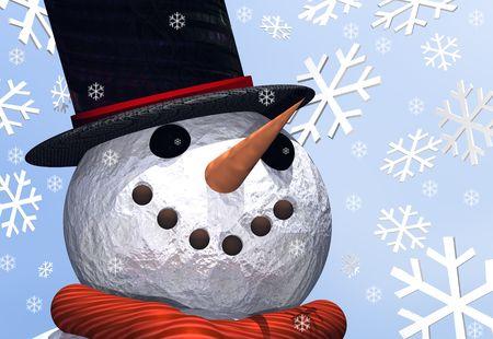 A close up of a jolly snowman
