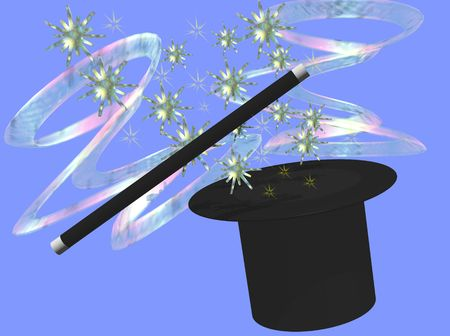 A top hat and wand conjure magis stars