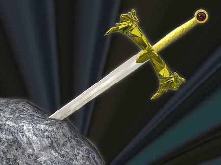 The legendary sword of King Arthur, embedded in the stone. Concepts: Challenge,testing,overcoming difficulties,choices.