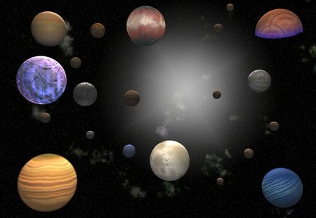 various planets in a galaxy