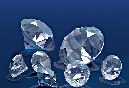 handful: A handful of diamonds thrown onto blue velvet