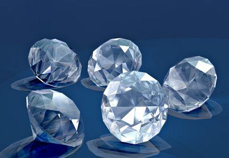 A handfull of small cut diamonds on blue velvet Stock Photo