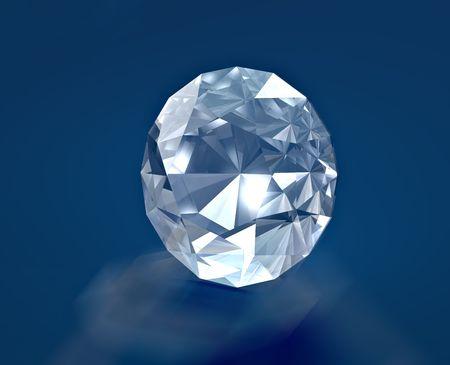 A brilliant diamond on blue velvet Stock Photo
