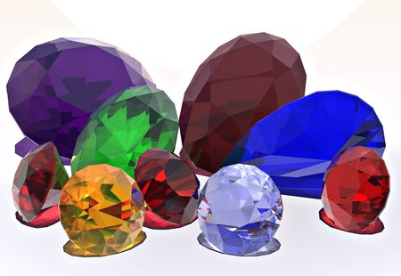 An assortment of brilliant colored jewels Stock Photo
