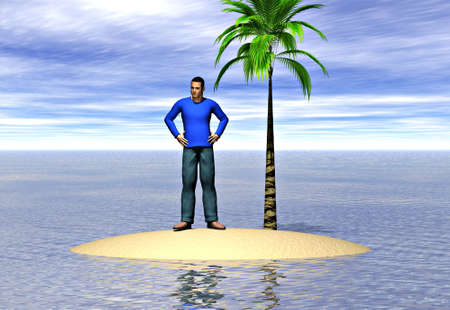 castaway: A lone man on an island. Image depicting the concepts of isolation and loneliness Stock Photo
