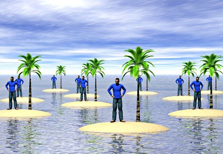 isolation: A group of men on desert islands. Image depicting the concepts of isolation and loneliness