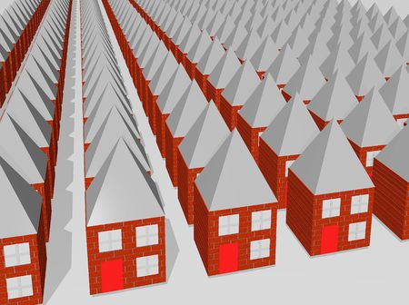 sameness: Rows and rows of houses all the same