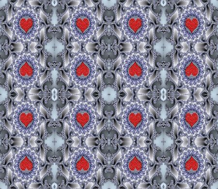 tessellate: A rich curving pattern, containing Valentine hearts,that tessellates seamlessly. Makes a beautiful background that is ideal for scrapbooking and Valentines day Stock Photo