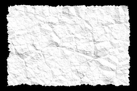 tatter: Una hoja del papel blanco arrugado.