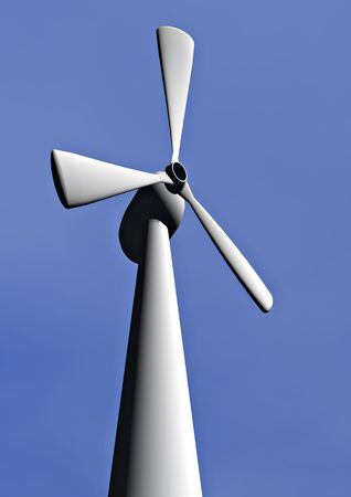 windfarm: A close uo of a wind turbine on a windfarm