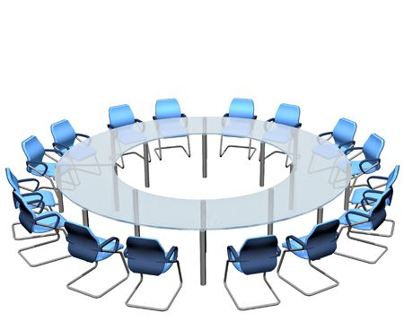 Empty seats round a boardroom conference table photo