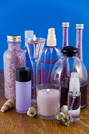 muscle relaxant: A collection of lavender bath products. Stock Photo
