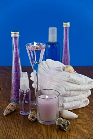 relaxant: A collection of lavender bath products. Stock Photo
