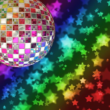 A mirror ball with a background of rainbow stars and a bokeh effect