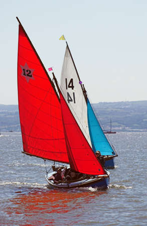 propel: Two yachts engaged in a race Stock Photo