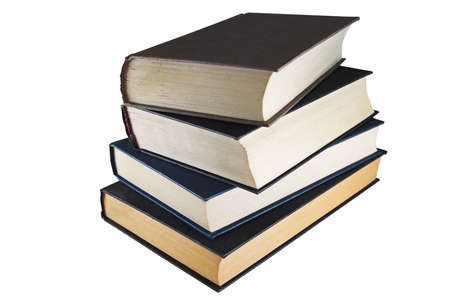 A dusty pile of very old books Stock Photo
