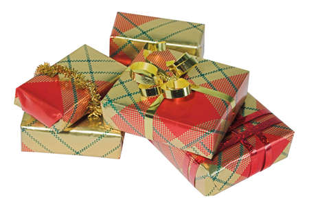 goodie: Bright shiny presents wrapped ready for giving Stock Photo