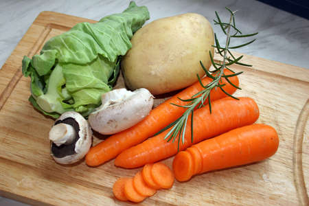roughage: Vegetables ready to prepare a meal