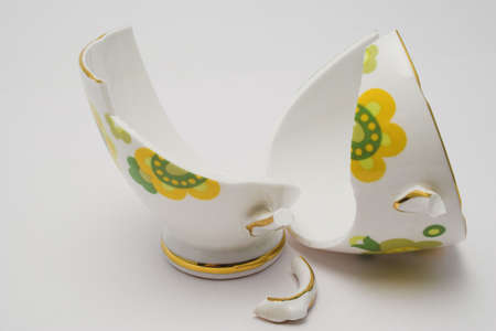 Pieces of a broken fine china cup Stock Photo
