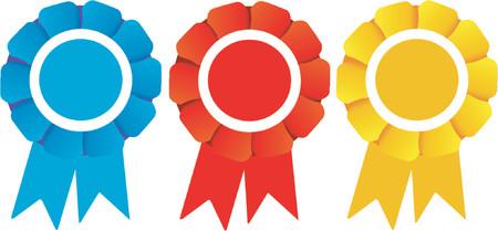 Three winners rosettes (Vector)