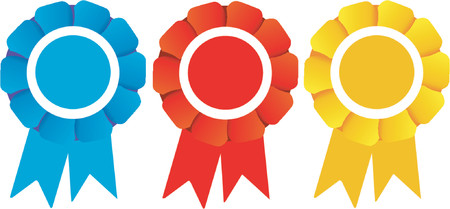 escarapelas: Tres ganadores rosetas (Vector)