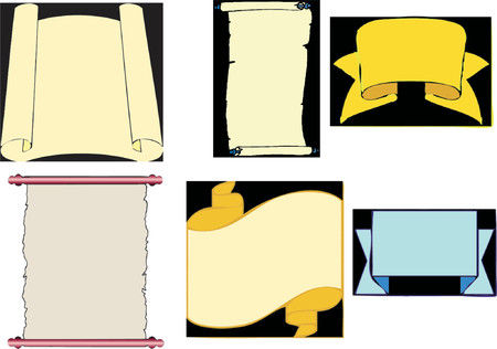 A collection of scrolls in vector format.  A vector image easily to scale and recolour.