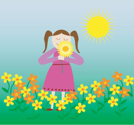 smelling: A young girl smelling the spring flowers in the sunshine.