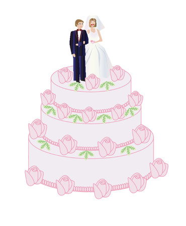 wedding reception decoration: A bride and groom standing on the wedding cake