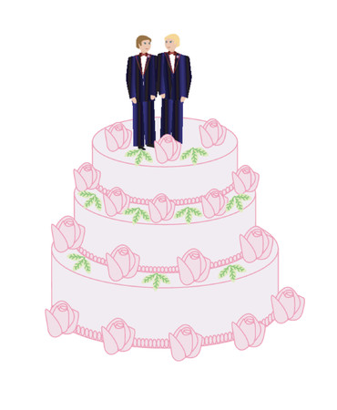 vow: Two grooms on a wedding cake Illustration