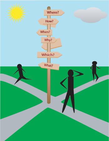 cruce de caminos: Tomar decisiones a lo largo de la vida del camino  Vectores