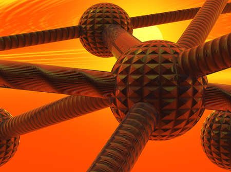 Graphic representaion of atom sized particles with links Stock Photo