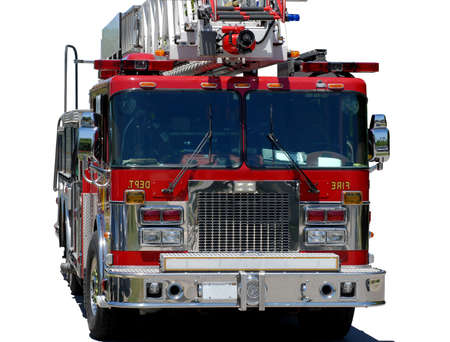 response: emergency response vehicle or firetruck on white background